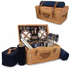 NEW Picnic Time Windsor English-Style Willow Picnic Basket with Service for 4