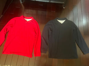 Chaps Long Sleeve Polo Boys Large L Red Navy Lot Of 2