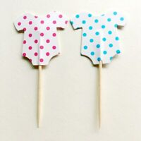 24 x Gender Reveal Pink Blue Cupcake Toppers Baby Shower