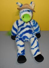 Zany Brainy Zebra Blue & White Stripes Zipes Plush Stuffed Animal Safari Hat