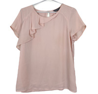 Jacqui E Womens Pale Pink Short Sleeve Lined Blouse Size M