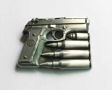 Hand gun with bullets belt buckle military army navy marines AF US Seller