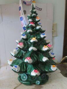 "Vintage Ceramic Lighted Christmas Tree 19"" With Music Box ""Silent Night"""