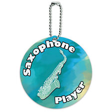 Saxophone Player Band Instrument Woodwind Round Luggage ID Tag Card Suitcase