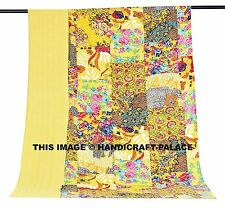 Indian Yellow Floral Patchwork Kantha Quilt Twin Bedspread Blanket Coverlet