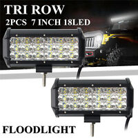 2x 7''Inch 180W Tri Row LED Work Light Bar Flood Driving Lamp Offroad SUV Truck