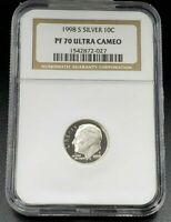 1998 S Proof Roosevelt Silver Dime Coin NGC PF70 UCAM Combo Ship Discounts 10c