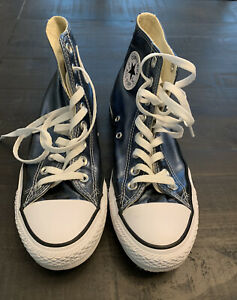 "Converse All Star""Chuck Taylor""Metallic Canvas Blue 6.5 Men 8.5 Women"