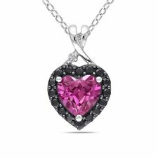 Silver 1 7/8 CT TGW Sapphire Black Spinel & Diamond Heart Pendant Necklace 18""