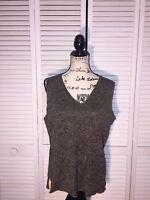 Eileen Fisher Knit Top Womens Size Large V-Neck Black Mesh Side Slit Sleeveless