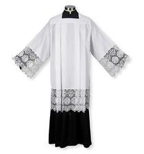 "Catholic Square Neck Rochet Surplice with Latin IHS Cross Lace 9""   Large"