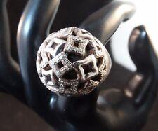David Yurman Wheaton Quatrefoil Pavé Diamond Sterling Silver Ring Size 7