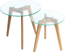 Tempered Glass Table Set Solid Oak Legs Round Coffee Nest Aiden Table Set 2pc