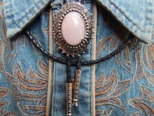 NEW PINK ROSE QUARTZ  BOLO BOOTLACE TIE SILVER METAL LEATHER CORD WESTERN COWBOY