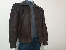 PIERRE CARDIN Men's Full Zipper  Brown Leather Jacket Size M
