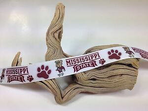 SALE! 6 Yards 1 Inch Printed Mississippi State Football Grosgrain Ribbon Lisa