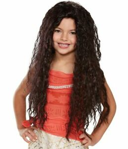 Moana Wig Deluxe Childs Girls Disney Princess Long Curly Brown Brunette Hair
