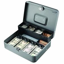 "Steelmaster Tiered Tray Cash Box - 4 Bill - 5 Coin - Steel - Gray - 3.2"" Height"