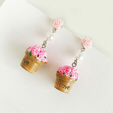 1pair cupcake pendant ear rings,pink cup cake earrings,lovely earrings
