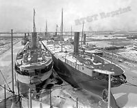 Photograph of the Winterized Steamships Delaware & Freighters Year 1905  8x10