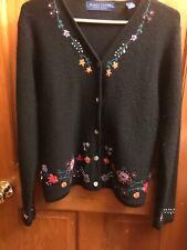 Karen Scott 100% WOOL Sweater Women's Embroidered Small Cardigan Australia