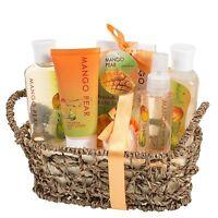 Mango Pear Gift Spa Basket Body Lotion Body Spray Bath Bomb & More Women's Gifts