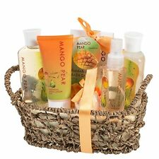 Mango Pear Gift Spa Basket Body Lotion Body Spray Bath Bomb & More