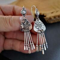 Vintage Women 925 Silver Pearl Ear Hook Dangle Drop Earrings tassel Boho Jewelry