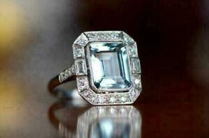 5.50Ct Emerald Cut Aquamarine & Diamond Vintage Style Ring 14K White Gold Finish
