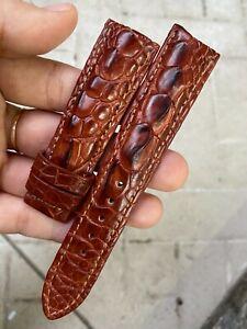 20mm GENUINE Red  Brow   ALLIGATOR CROCODILE HORNBACK LEATHER WATCH BAND STRAP