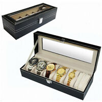 6 Slots Leather Glass Men Watch Display Case Box Storage Organizer Heavy Duty