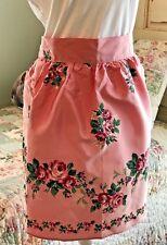 Vintage 70s Tupperware Hostess Apron Pink Floral Taffeta Artistic Apron House
