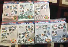 7 hojas sin abrir de quince sellos de 32 céntimos celebrar el siglo de 1900s a 1960s