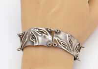 925 Sterling Silver - Vintage Modernist Floral Leaves Chain Bracelet - B7997