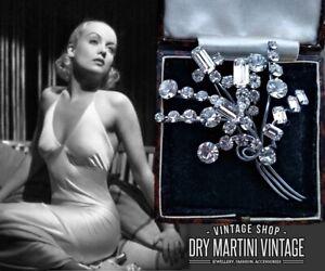VINTAGE ART DECO EMERALD CUT DIAMOND PASTE FLORAL SPRAY BROOCH PIN BRIDAL GIFT