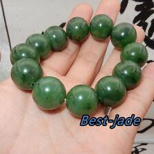 Cert Top Grade Apple Green Nephrite Jade Beads Bangle Bracelet Canada Jade 17mm