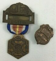 Medals 2pc Lot Veterans Of Foreign Wars Boston Junior Saftey Police Club