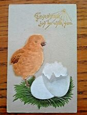 Unique Vintage 1909 Divided Embossed EASTER POSTCARD WITH VELVET BABY CHICK