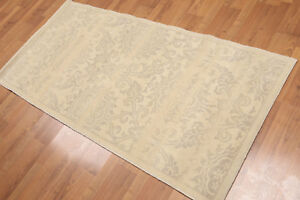 3' x 6' Hand Knotted Wool Floral Oriental runner Area Rug AOR8518 Beige 3x6