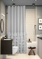 Farmhouse Ruffle Gray Grey Fabric Shower Curtain Rustic Shabby Chic Design 72x72