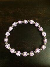 Monkey Purple Silver Beads Stretchy Bracelet