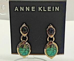 Anne Klein Women's Dangle Earrings Gold Tone Rhinestones New