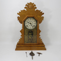 Antique E. Ingraham & Co Pendulum Wood Mantle Chime Bell Clock