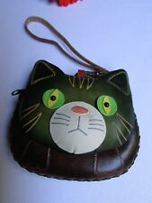 New Women Wallet Bag Key Cat Brown Green Purse Small Coin Chain Genuine Leather