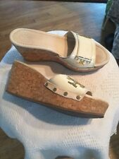 """Tory Burch """"Pamela"""" Off White Patent Leather And Gold Cork Platform Sandals 8.5M"""
