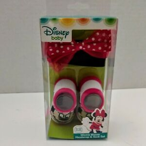 Disney Baby Minnie Mouse Bootie Socks and Headwrap Set 0-12 month Baby Shower