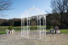 Pavillon Eisen matt weiß Rankhilfe stabil Pergola Rosenbogen Rankgitter design