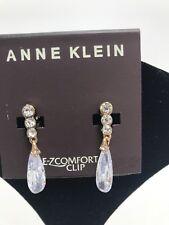 $26 Anne Klein Crystal Shaped Teardrop rose gold Clip On Earrings Ja4