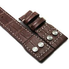 20mm Brown Alligator Embossed Leather Watch Strap Band For IWC Pilot Top Gun