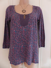 White Stuff size 8 very thin brown jersey top with colourful floral pattern